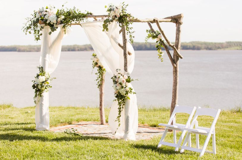 Wedding cabana with floral decoration