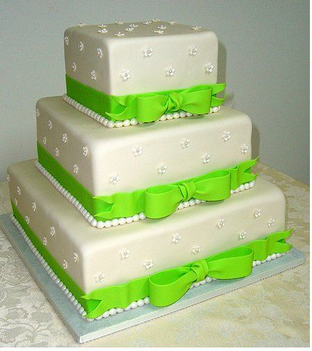 Tmx 1357790859138 SquareQuinceaneraCakeforweddingwithbrightgreenribbons San Antonio, TX wedding cake