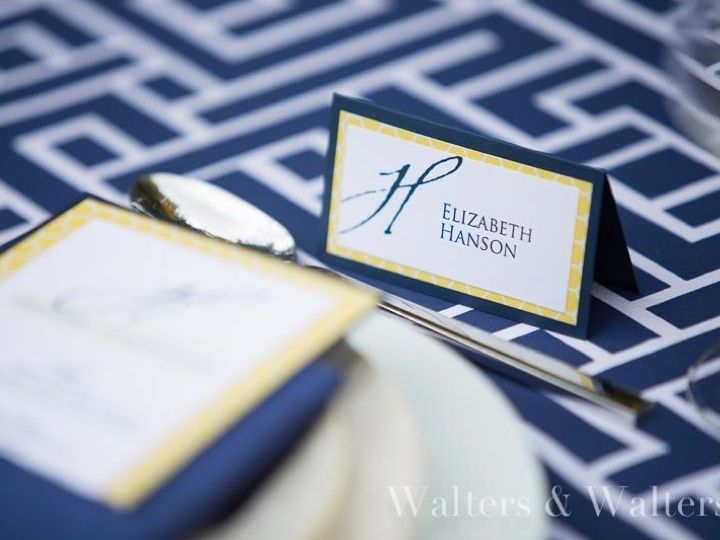 Tmx 1428354929565 Navy Blue And Yellow Place Cards Morrisville wedding invitation