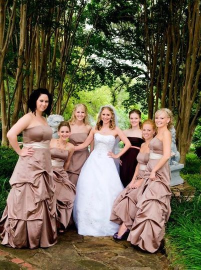 You and your bridesmaids -- all beautiful all having fun