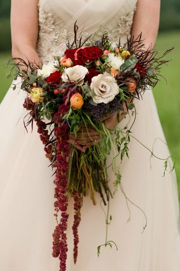 Red waterfall bouquet
