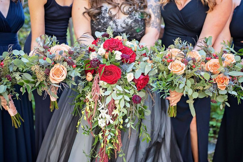 Bridal party's bouquets