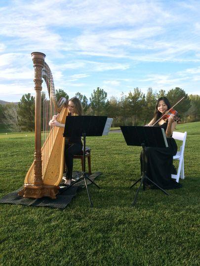 Violinist and harpist
