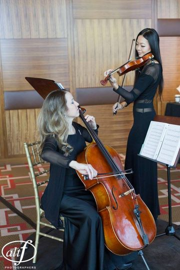 Cellist and violinist