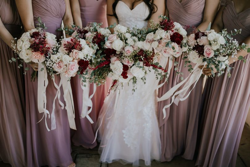 Blush and burgundy bouquets