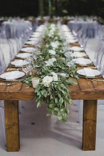 Farm table with eucalyptus