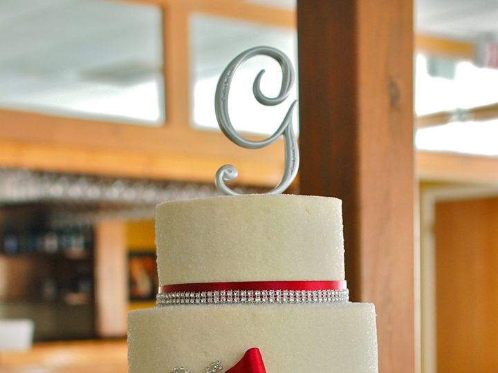 Tmx 1437880871044 Weddingcakeredribbon Hampton, New Hampshire wedding cake