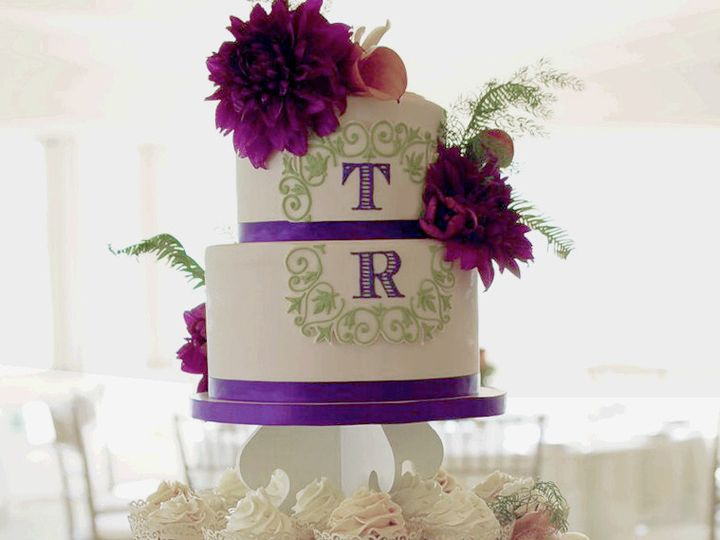 Tmx 1437884059142 Weddingcakemonogramcupcaketower Hampton, New Hampshire wedding cake