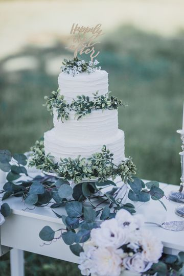 Tired cake with greenery