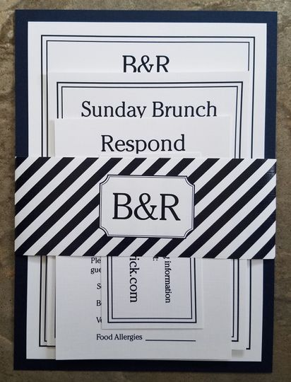 B & R wedding invitation set