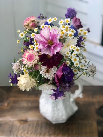 Spring bouquet in porcelain jug