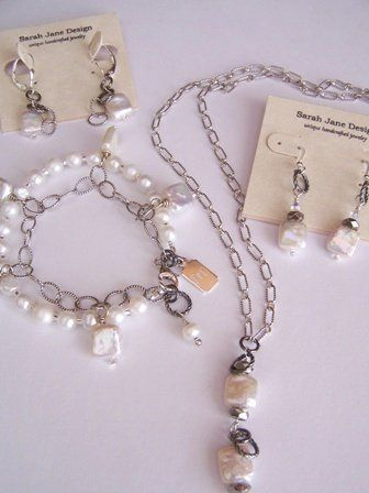 Pearluxe Collection - Bride/Attendant Genuine freshwater pearls and mixed metals with sterling...