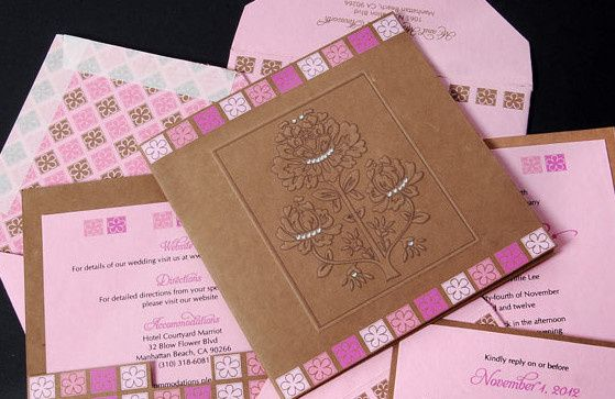 Pink invitation set
