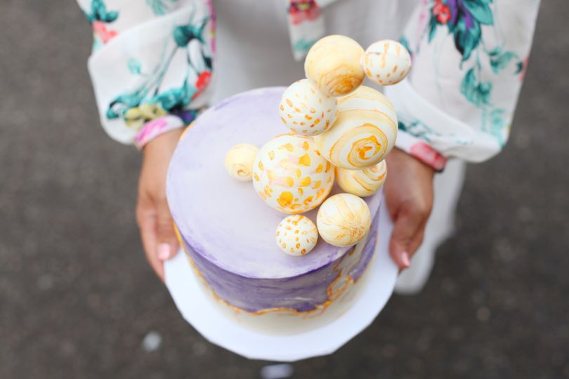 Watercolor Cake with Chocolate