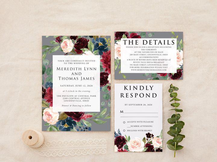 Tmx Burgundy Grey Copy 51 1184289 157661605930896 Loudonville, OH wedding invitation