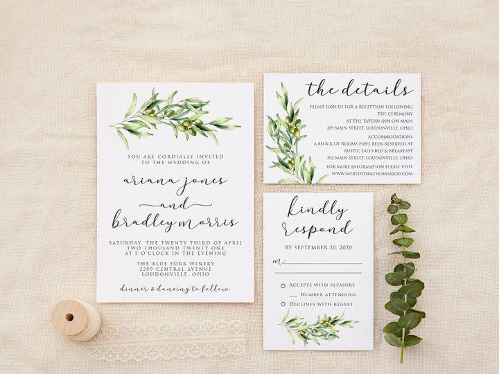 Tmx Olivebranchscript 51 1184289 157661819885629 Loudonville, OH wedding invitation
