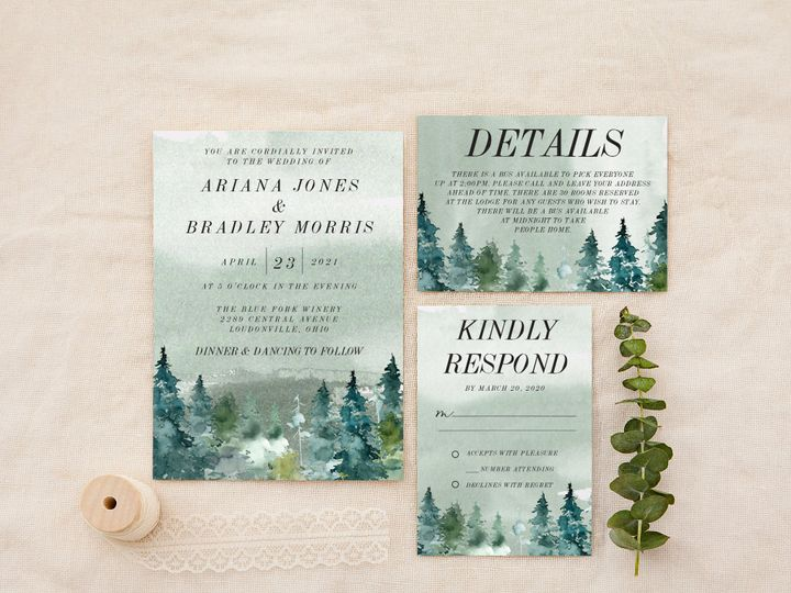 Tmx Spruce Forest Watercolor Copy 51 1184289 157661606134955 Loudonville, OH wedding invitation