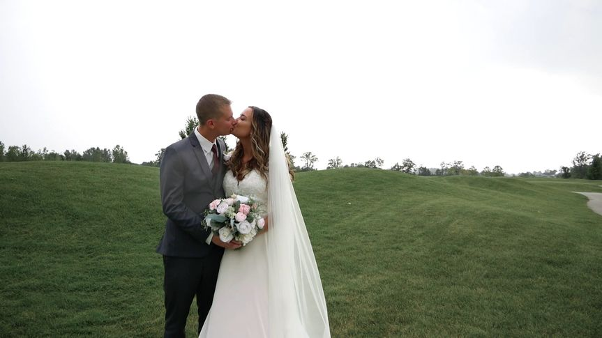 Couple kissing on lawn