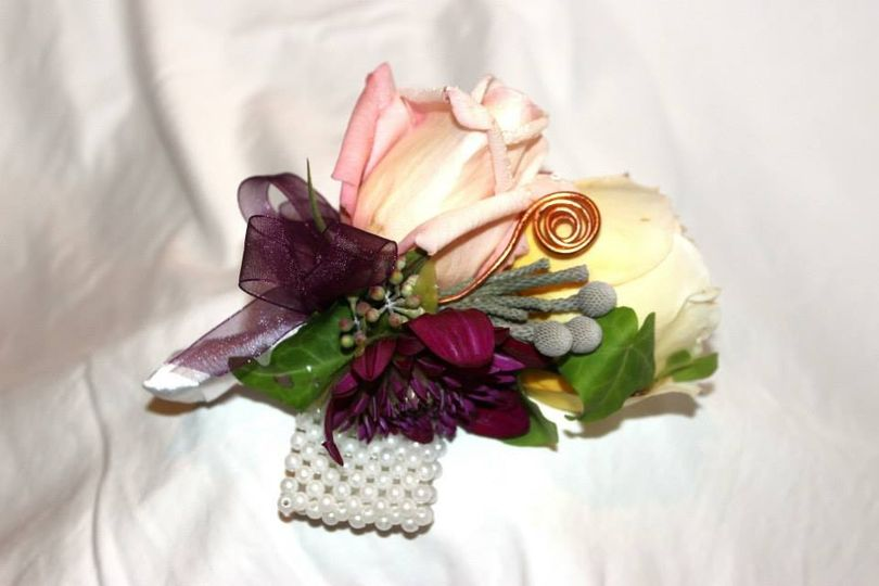 copper and plum corsage