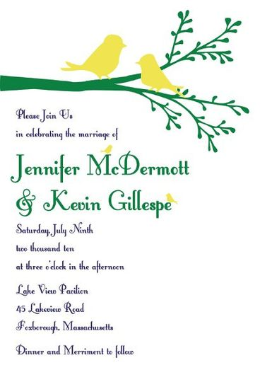Birds & Branches printable do it yourself invitation suite