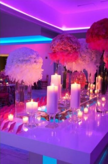 Flower and candle centerpiece