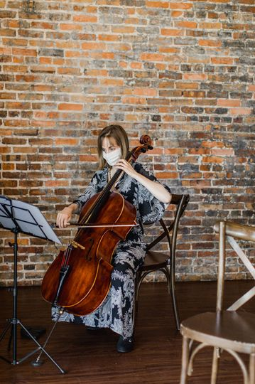 Cellist performing at Edison