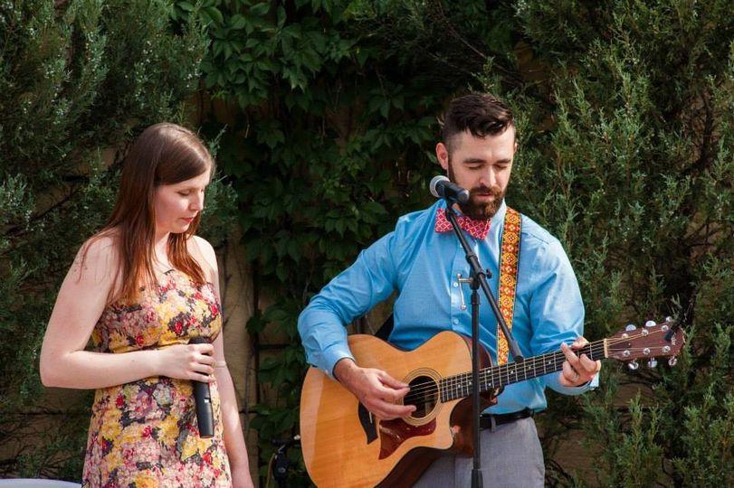 Joel & Katie singing at a wedding in Colorado Springs, CO