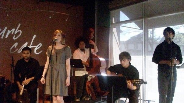 Joel & Katie singing in a cafe at Belmont University