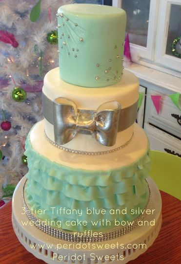 tier tiffany blue and silver wedding cake with b