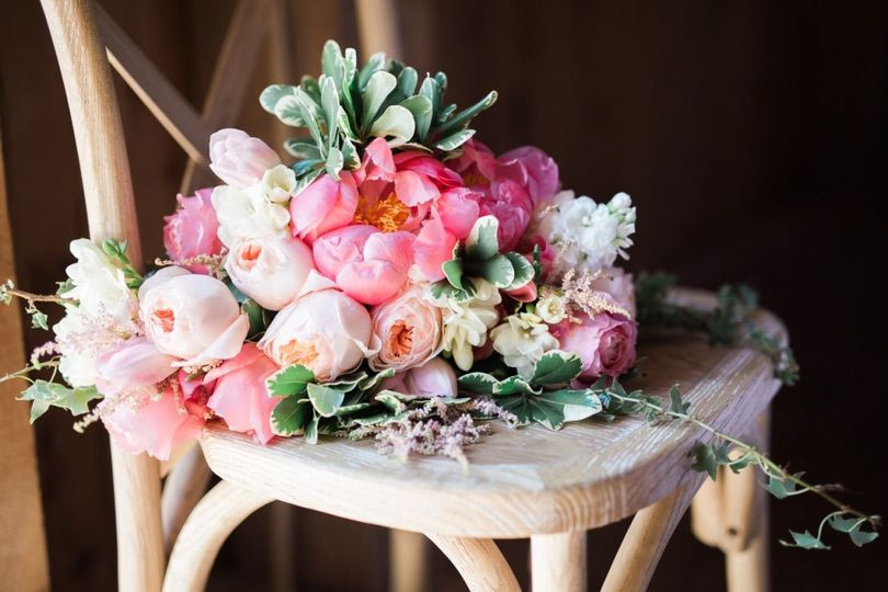 Bouquet in a chair