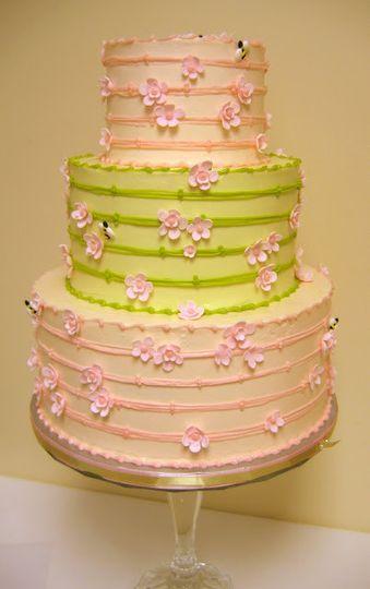 Three tier floral cake