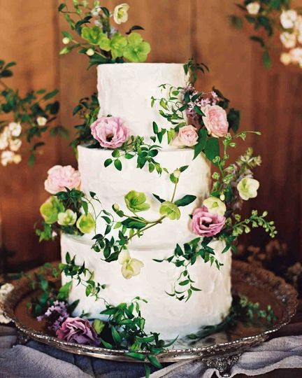 Three tier botanical wedding cake