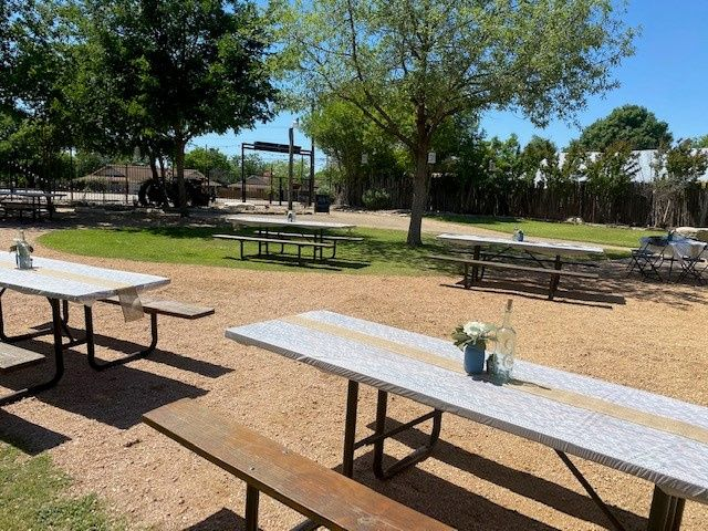 Outdoor tables included