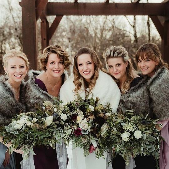 Bridal party all bundled up