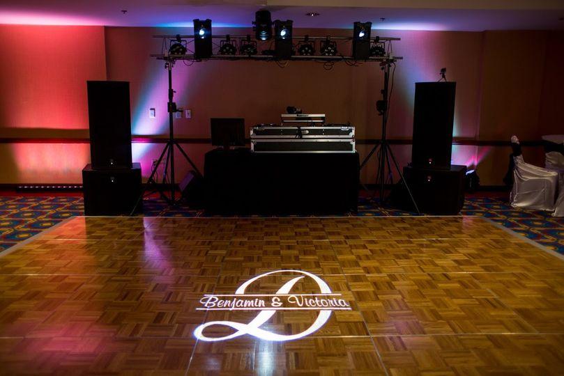 Monogram lights and DJ  booth