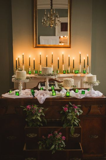 Wedding cakes and candles