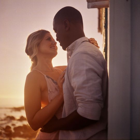 Beach engagement portrait at sunset on film - Stephen Tang Photo