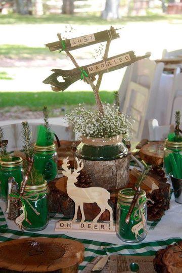 Rustic, wood, emerald, outdoor wedding
