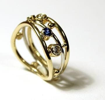 18k yellow gold with diamonds and sapphires