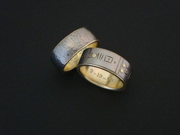 Jay and Mark both wanted Titanium bands with 18k yellow gold liners, so the rings reference each...
