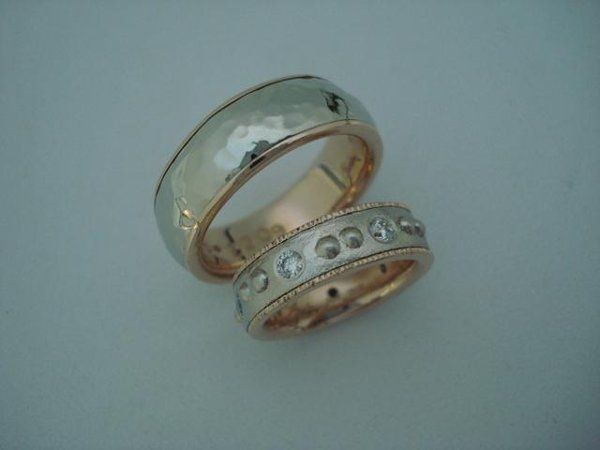 I made these rings for Jackie and David.  Both are made of 14k white gold and 18k red (rose) gold....