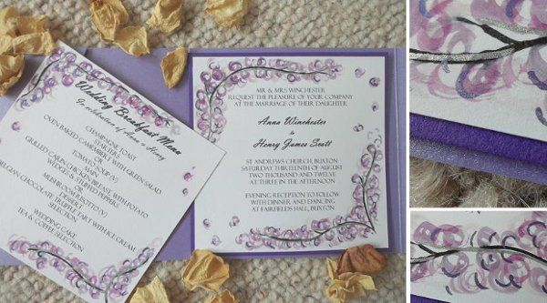 purplelilacblossomtreesilverweddinginvitation