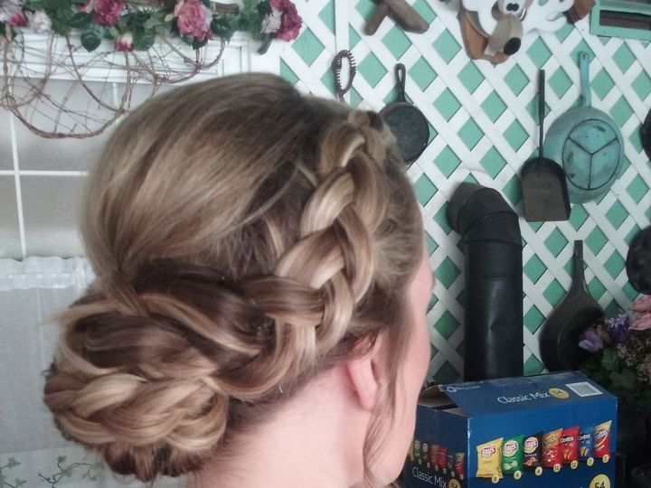 Tmx 1522338806 7ee070a4b9fbd316 1522338803 C6cfe8673e5c3d94 1522338795117 4 Braid With Low Bun Saddle Brook, NJ wedding beauty