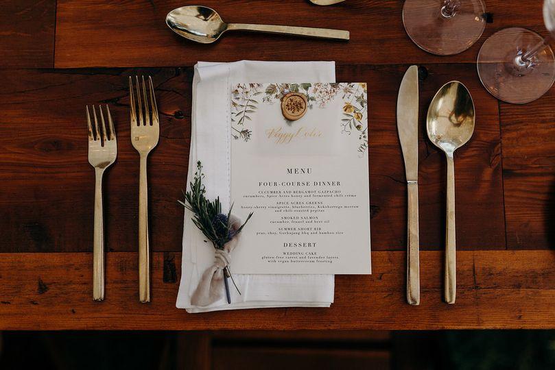 Reception menu | Agape Photography