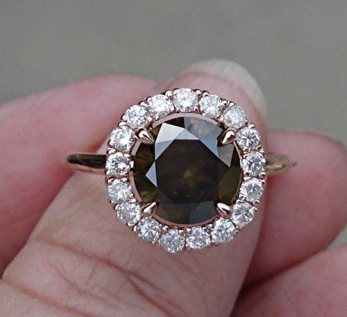 Natural Chocolate Brown Diamond Engagement RingCenterstone: 2.57 Carats, SI2Diamond Halo: 0.50 cttw,...