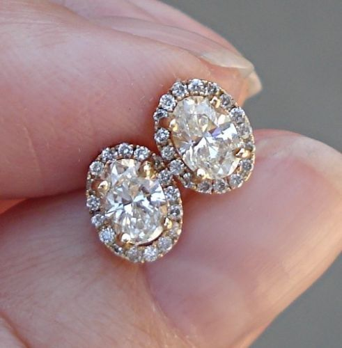 $999 Oval Diamond Halo Earrings14K Yellow Gold0.66 Oval Cut Diamonds SI-1 H0.81 TCW 7x5.5mm