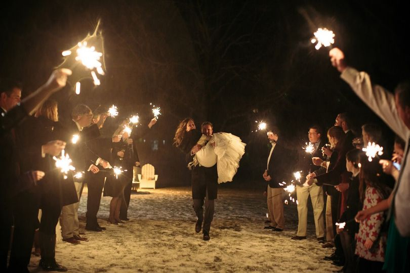 Sparkler celebration for the newlyweds