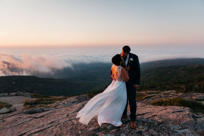 Sunrise wedding in Acadia National Park, Bar Harbor Maine