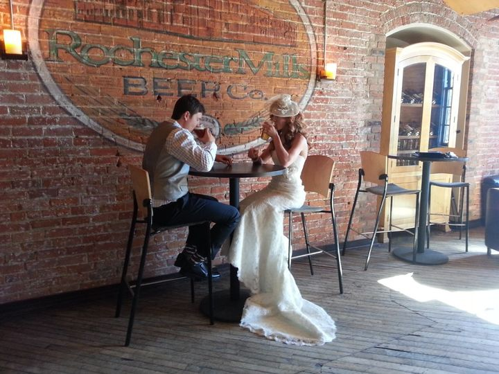 Erica & Derrick, February 2013, Private wedding ceremony at a local brewery