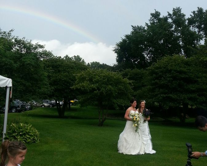 Dana & Chelsie, July 2013 - yes that's a real rainbow!
